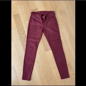 7 For All Mankind Burgundy Skinny Jean